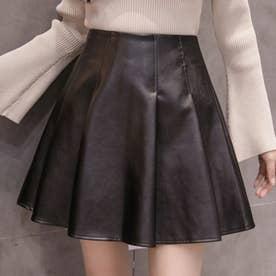 エコレザー フレア スカートパンツ 7893 (BLK)