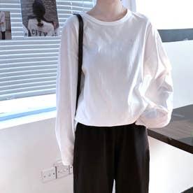ワンポイント刺繍 ロングTシャツ 8045 (WHT)