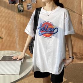 カジュアル プリント 半袖Tシャツ 8104 (WHT)