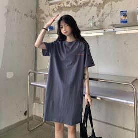 レタリング Tシャツワンピース 8230 (BLU)