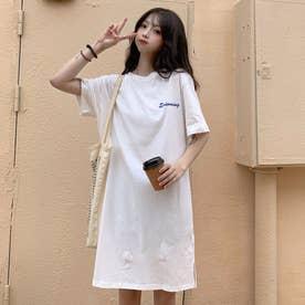 レタリング Tシャツワンピース 8230 (WHT)