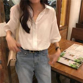オープンカラー オーバーシャツ 8277 (WHT)