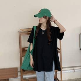 サイドスリット クルーネックTシャツ 8288 (BLK)