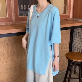 サイドスリット クルーネックTシャツ 8288 (BLU)
