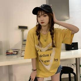 ハート・レタリングプリントTシャツ 8431 (YEL)