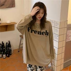 サイドスリットロゴロングTシャツ 8656 (BEG)