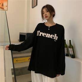 サイドスリットロゴロングTシャツ 8656 (BLK)