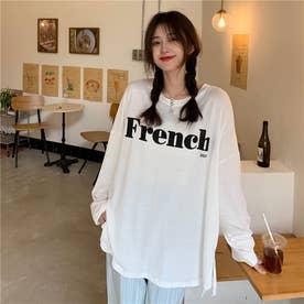 サイドスリットロゴロングTシャツ 8656 (WHT)