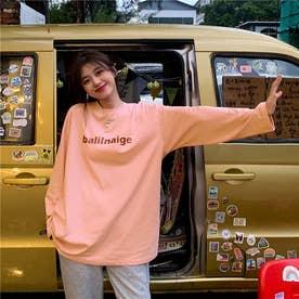 レタリングプリントロングTシャツ 8653- (PNK)