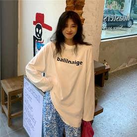 レタリングプリントロングTシャツ 8653- (WHT)