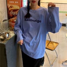 レタリングプリントロングTシャツ 8653- (BLU)
