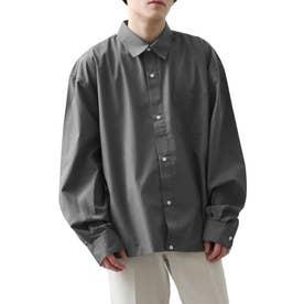 高密度T/Cブロードオーバーサイズビッグシルエット長袖シャツ/レギュラーカラー/クレリック (チャコール)