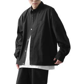 高密度T/Cブロードオーバーサイズビッグシルエット長袖シャツ/レギュラーカラー/クレリック (ブラック)