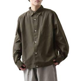 高密度T/Cブロードオーバーサイズビッグシルエット長袖シャツ/レギュラーカラー/クレリック (オリーブ)