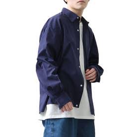高密度T/Cブロードオーバーサイズビッグシルエット長袖シャツ/レギュラーカラー/クレリック (ダークネイビー)