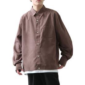 高密度T/Cブロードオーバーサイズビッグシルエット長袖シャツ/レギュラーカラー/クレリック (パープル)