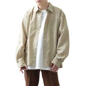 高密度T/Cブロードオーバーサイズビッグシルエット長袖シャツ/レギュラーカラー/クレリック (ベージュ)