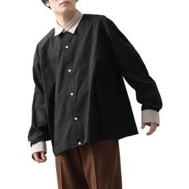 高密度T/Cブロードオーバーサイズビッグシルエット長袖シャツ/レギュラーカラー/クレリック (ブラック系)