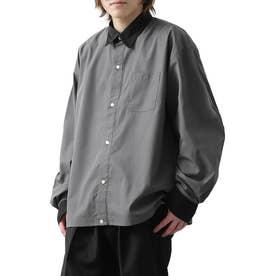 高密度T/Cブロードオーバーサイズビッグシルエット長袖シャツ/レギュラーカラー/クレリック (チャコールグレー×ブラック)