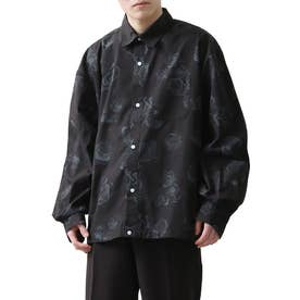 高密度T/Cブロードオーバーサイズビッグシルエット長袖シャツ/レギュラーカラー/クレリック (ブラック系1)