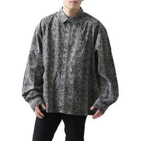 高密度T/Cブロードオーバーサイズビッグシルエット長袖シャツ/レギュラーカラー/クレリック (ブラック系2)