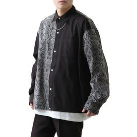 高密度T/Cブロードオーバーサイズビッグシルエット長袖シャツ/レギュラーカラー/クレリック (ブラック系3)