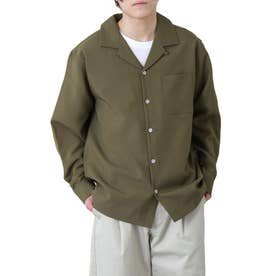 高密度ポリトロリラックスオープンカラーシャツ/長袖シャツ/開襟シャツ (カーキ)