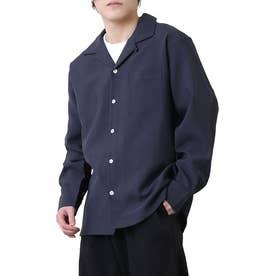 高密度ポリトロリラックスオープンカラーシャツ/長袖シャツ/開襟シャツ (ネイビー)