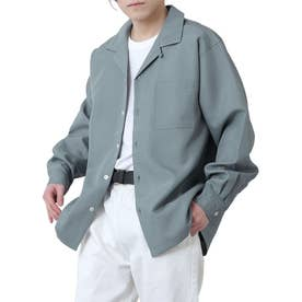 高密度ポリトロリラックスオープンカラーシャツ/長袖シャツ/開襟シャツ (ブルー)