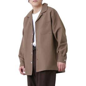高密度ポリトロリラックスオープンカラーシャツ/長袖シャツ/開襟シャツ (パープル)