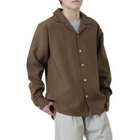 高密度ポリトロリラックスオープンカラーシャツ/長袖シャツ/開襟シャツ (ブラウン)