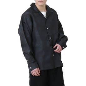 高密度ポリトロリラックスオープンカラーシャツ/長袖シャツ/開襟シャツ (ブラック系)