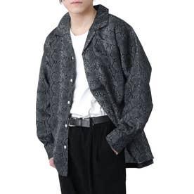 高密度ポリトロリラックスオープンカラーシャツ/長袖シャツ/開襟シャツ (ブラック系1)