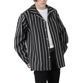 高密度ポリトロリラックスオープンカラーシャツ/長袖シャツ/開襟シャツ (ブラック系3)