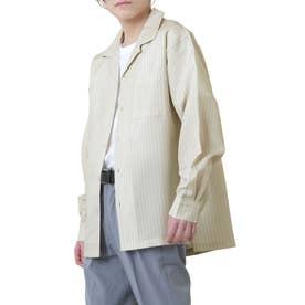 高密度ポリトロリラックスオープンカラーシャツ/長袖シャツ/開襟シャツ (ベージュ系1)