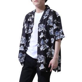 レーヨンオープンカラーアロハシャツ (ブラック)