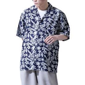 レーヨンオープンカラーアロハシャツ (ネイビー)