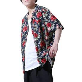 レーヨンオープンカラーアロハシャツ (ネイビー系1)