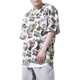 レーヨンオープンカラーアロハシャツ (ホワイト)