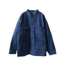 スラブデニムノーカラーワークジャケット (ブルー)