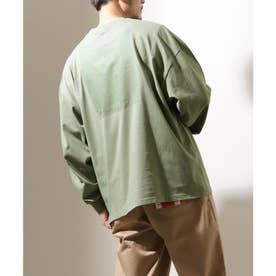 【別注・コラボ】ZIP FIVE×KANGOL 同色バックロゴ バルーンスリーブ ビッグシルエット ロンT 長袖Tシャツ【2021 SPRING】 (グリーン)