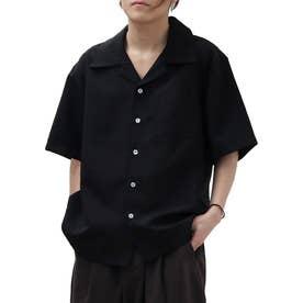 【2021 SPRING】ポリトロリラックス 半袖ビッグシルエットオープンカラーシャツ 開襟シャツ (ブラック)