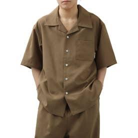 【2021 SPRING】ポリトロリラックス 半袖ビッグシルエットオープンカラーシャツ 開襟シャツ (ブラウン)