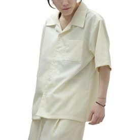 【2021 SPRING】ポリトロリラックス 半袖ビッグシルエットオープンカラーシャツ 開襟シャツ (アイボリー)