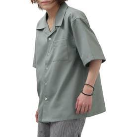【2021 SPRING】ポリトロリラックス 半袖ビッグシルエットオープンカラーシャツ 開襟シャツ (ブルー)