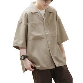 麻風開襟ビッグシルエット半袖シャツ (ベージュ)