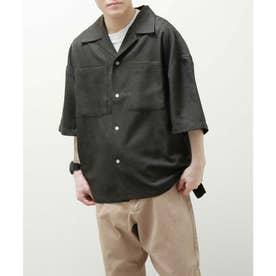 麻風開襟ビッグシルエット半袖シャツ (ブラック)