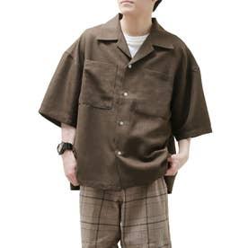 麻風開襟ビッグシルエット半袖シャツ (ブラウン)