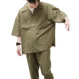 麻風開襟ビッグシルエット半袖シャツ (オリーブ)