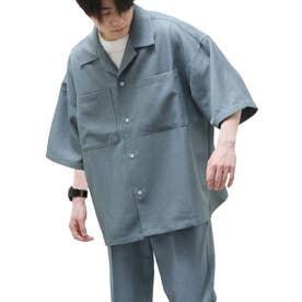 麻風開襟ビッグシルエット半袖シャツ (ブルー)